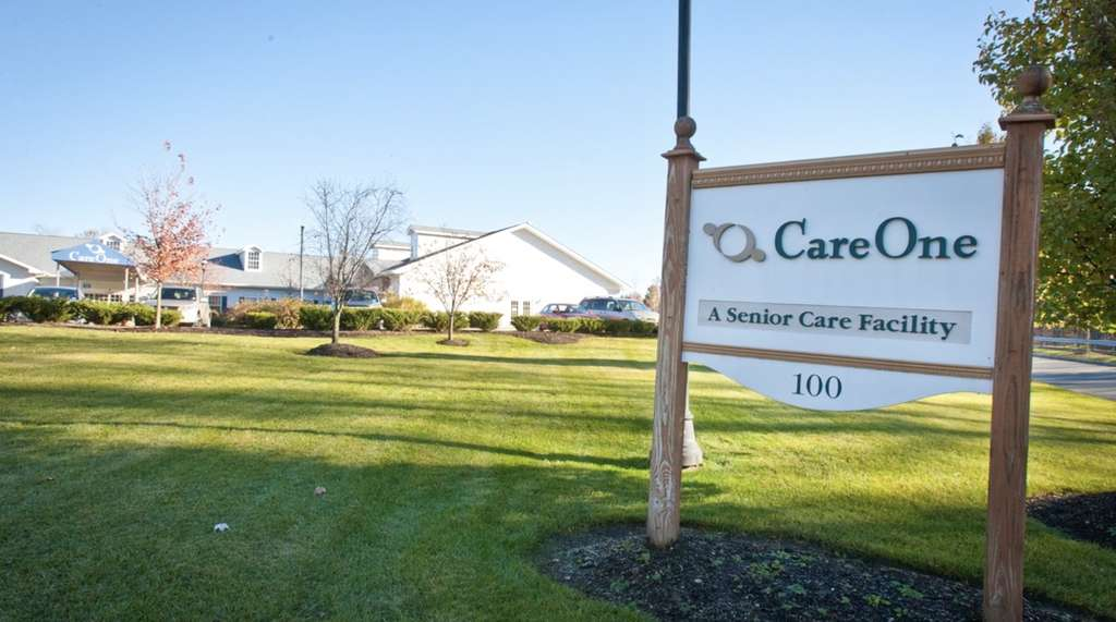An image of CareOne at Parsippany's front exterior and outdoor sign.